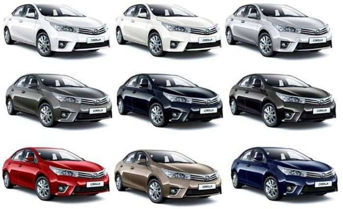 Различные цвета кузова для Toyota Corolla